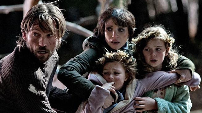 Nikolaj Coster-Waldau, Jessica Chastain, Megan Charpentier ve filmu Mama